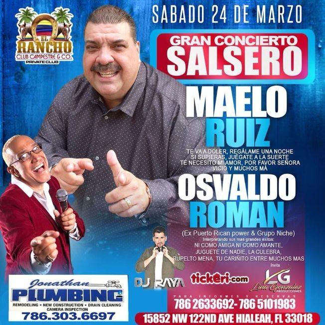Flyer for Maelo Ruiz & Osvaldo Roman en Hialeah,FL