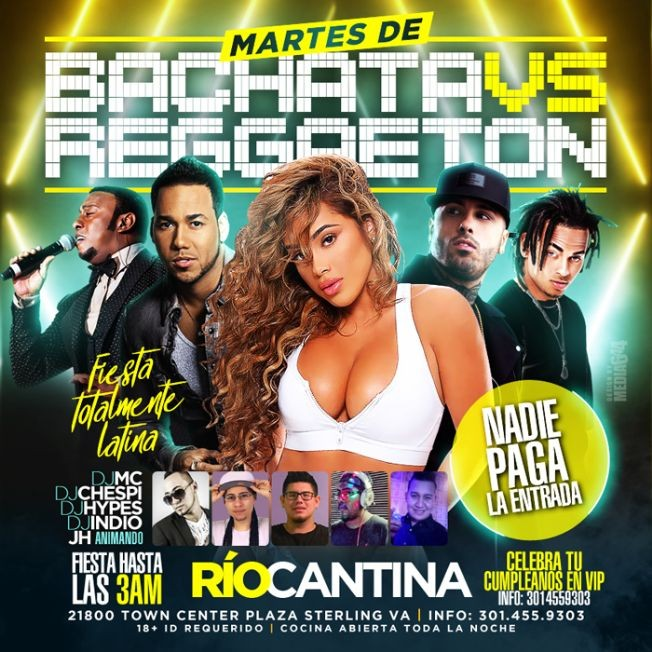 Flyer for Martes de Bachata vs. Reggaeton en Sterling,VA
