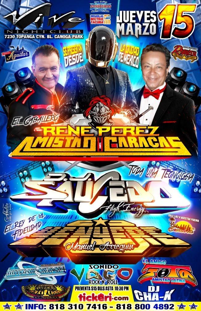 Flyer for Rene Perez Amistad Caracas & DJ Saucedo en Canoga Park,CA