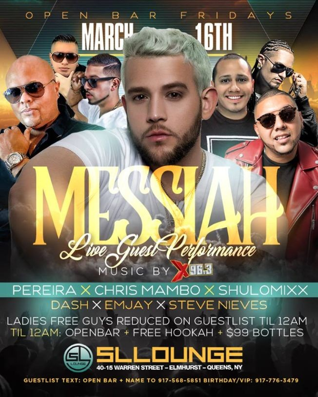 Flyer for Messiah Live At SL Lounge