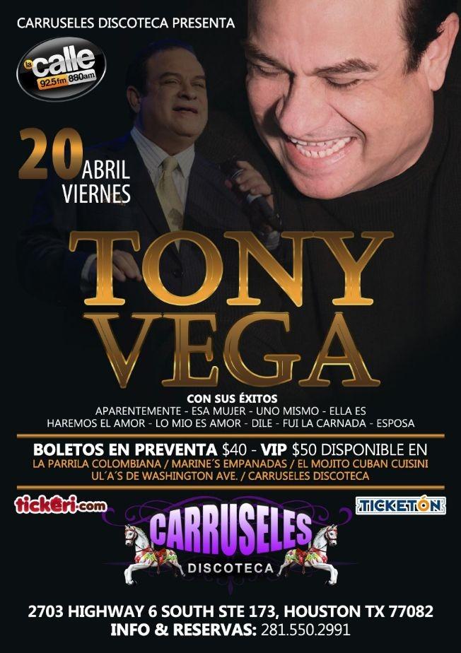 Flyer for TONY VEGA EN CARRUSELES DISCOTECA