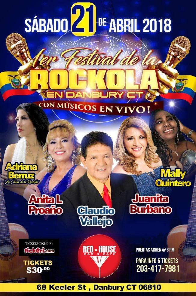 Flyer for Festival de La Rockola con Claudio Vallejo, Juanita Burbano, Anita L Proano, Adriana Berruz y Mally Quintero