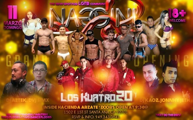 "Flyer for Grand Opening of ""Naggini"" the all New LGBT spot in OC"