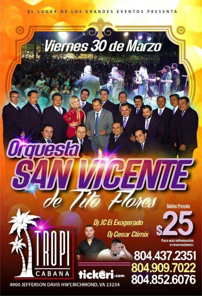 Flyer for Orquesta San Vicente de Tito Flores en Richmond,VA