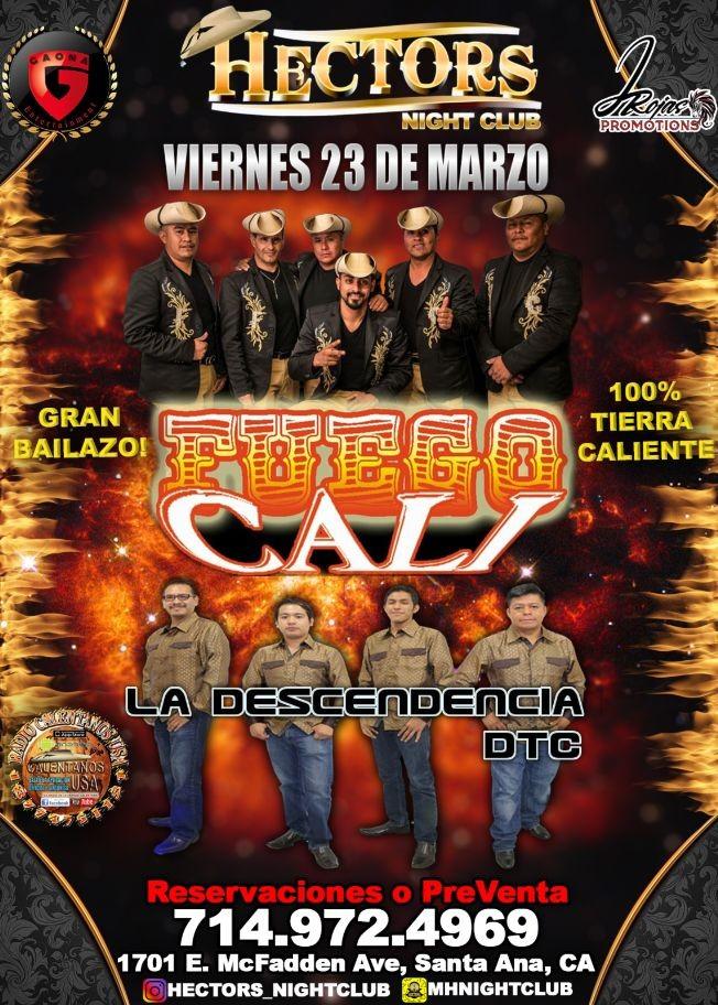 Flyer for FUEGO CALI! POR PRIMERA VEZ!