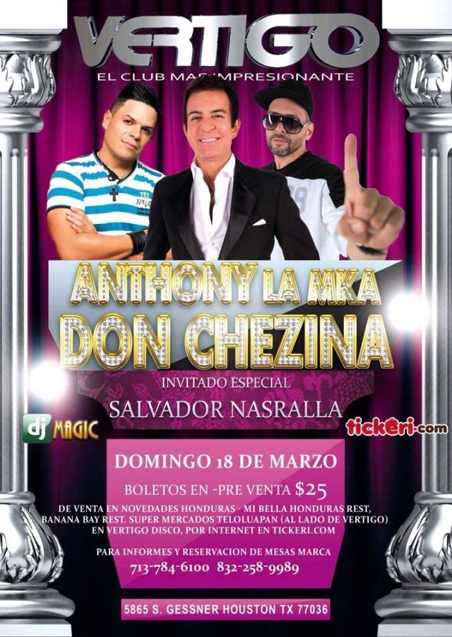 Flyer for Anthony MKN & Don Chezina en Houston,TX