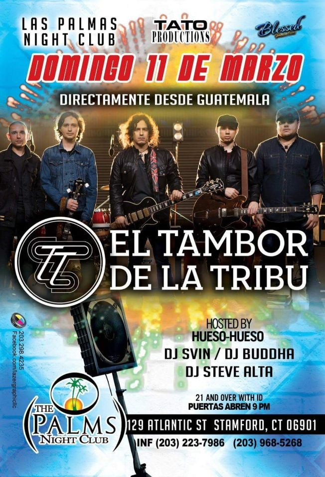 Flyer for El Tambor de la Tribu en Stamford CT.