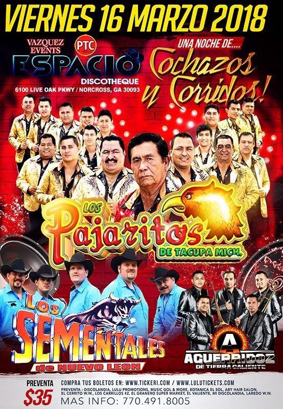 Flyer for Los Pajaritos de Tacupa Mich, Los Sementales de Nuevo Leon & Aguerridoz de Tierra Caliente en Norcross,GA