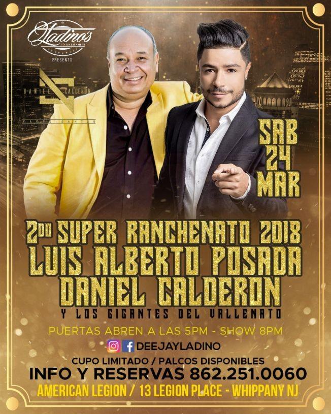 Flyer for Luis Alberto Posada - Daniel Calderon Y Los Gigantes del Vallenato