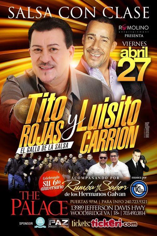 Flyer for Salsa con Clase Tito Rojas & Luisito Carrion