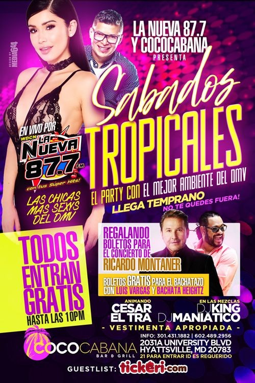 Flyer for Sabados Tropicales
