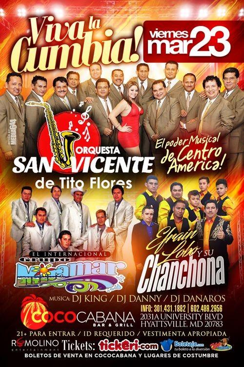 Flyer for VIVA la CUMBIA,Orquesta San Vicente, Grupo Miramar & Efrain Lobo y Su Chanchona.