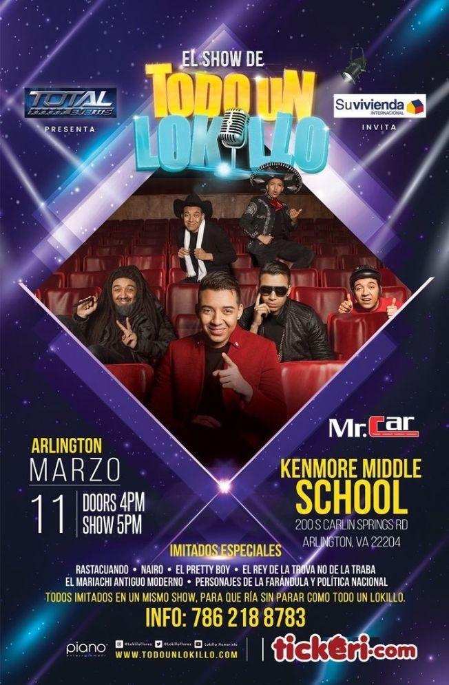 Flyer for El Show de Todo un Lokillo en Arlington,VA