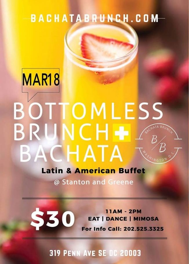 Flyer for Bachata Brunch & DC ZOUK / Unlimited Mimosa & Bloody Mary Bar WITH LATIN  Buffet