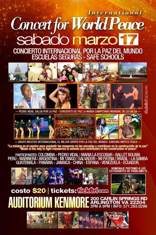 Flyer for International Concert for World Peace in Arlington,VA