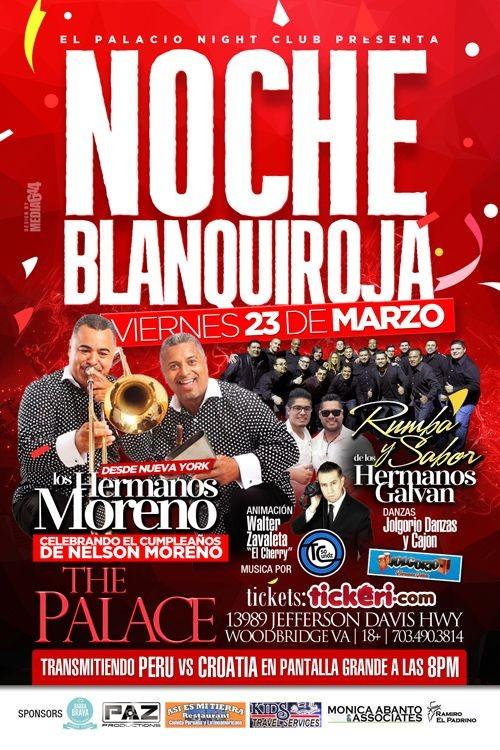 Flyer for NOCHE BLANQUIROJA CON LOS HERMANOS MORENO & LOS HERMANOS GALVAN