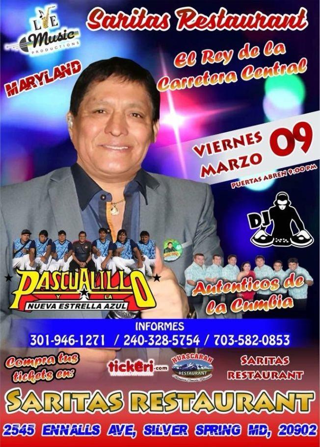 Flyer for Pascualillo y La Nueva Estrella Azul en Maryland