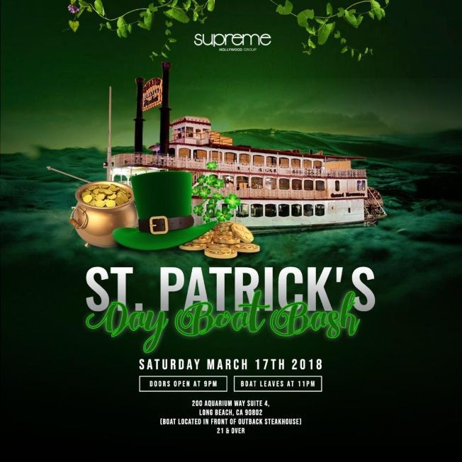 Flyer for St Patty Boat Party