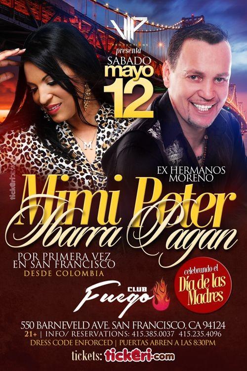Flyer for Mimi Ibarra y Peter Pagan ex voz principal de Los Hermanos Moreno en San Francisco CA