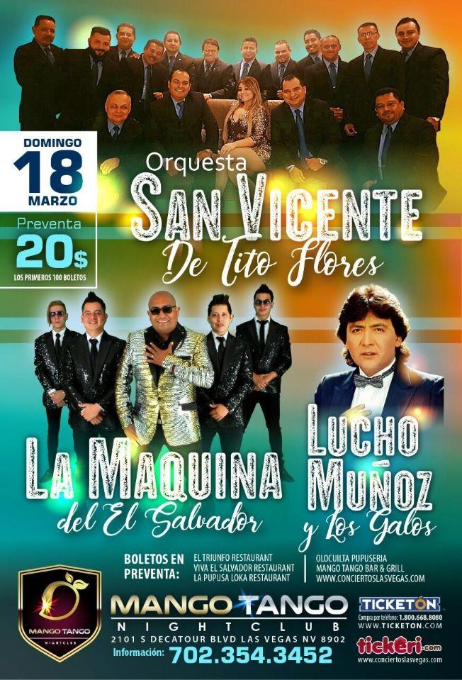 Flyer for Orquesta San Vicente, La Maquina de El Salvador & Lucho Muñoz en Las Vegas,NV