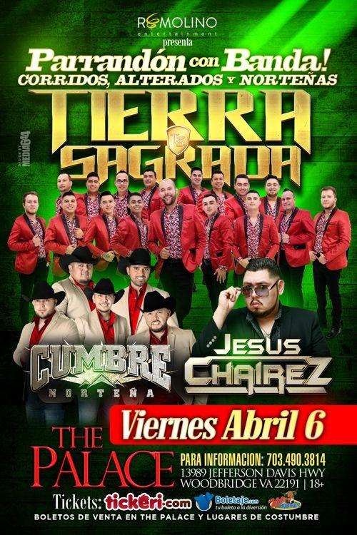 Flyer for Tierra Sagrada, Cumbre Norteña & Jesus Chaires