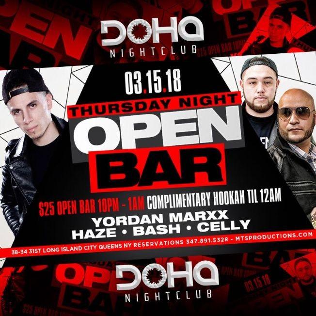 Flyer for Thursday Night Open Bar At Doha Nightclub