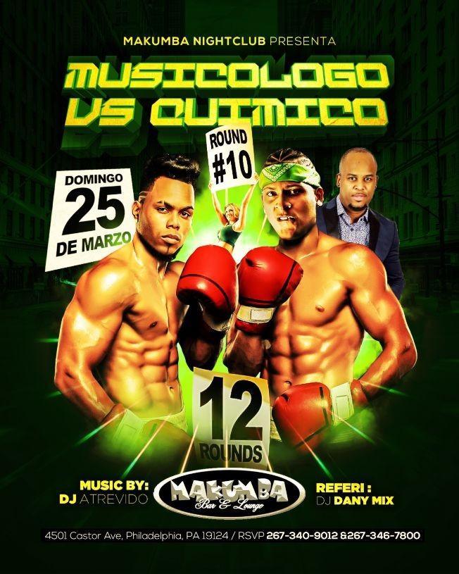 Flyer for Musicologo vs. Quimico en Philadelphia,PA