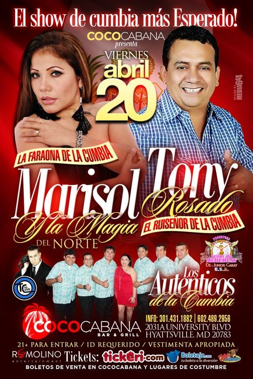 Flyer for Marisol y La Magia del Norte & Tony Rosado en Hyattsville,MD