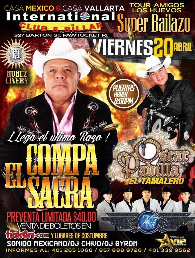 Flyer for El Compa Sacra-Oscar Padilla El Tamalero & AK 7-En Pawtucket,RI