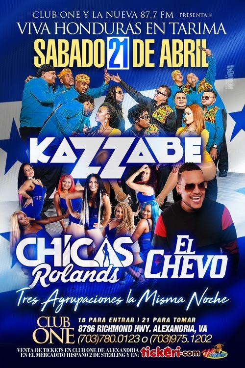 Flyer for Kazzabe, Chicas Rolands & El Chevo en Alexandria,VA