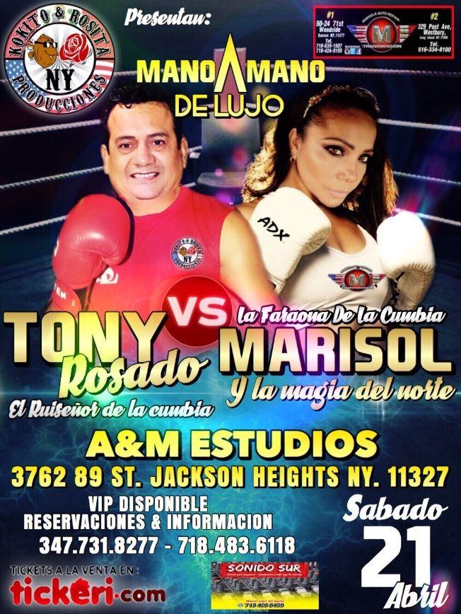 Flyer for El mano a mano MARISOL vs TONY ROSADO NY