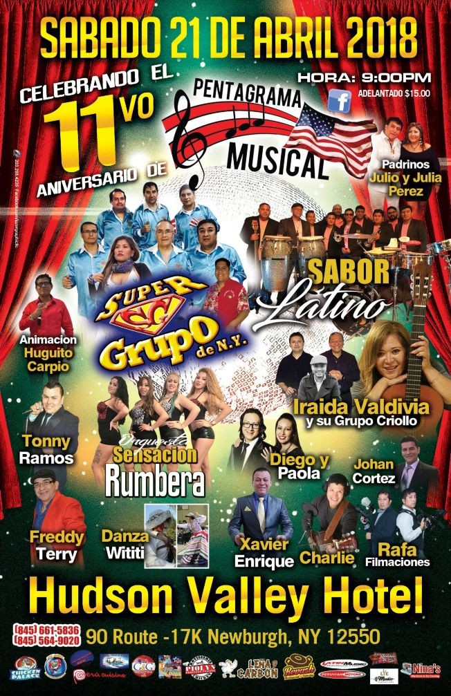 Flyer for Super Grupo de NY, Sabor Latino, Iraida Valdivia & Mas en Newburgh,NY
