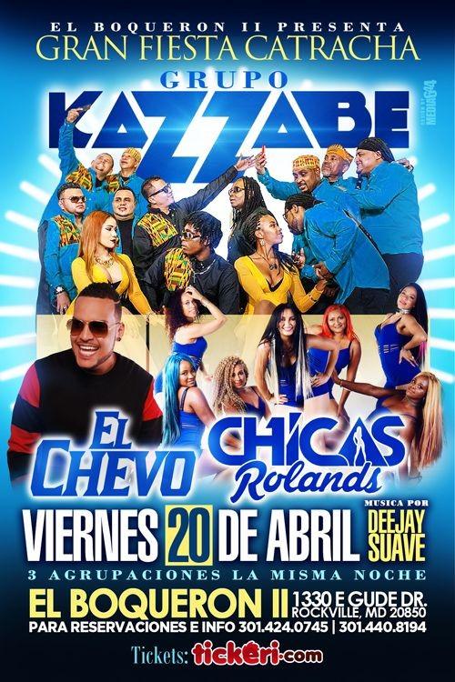 Flyer for Grupo Kazzabe, El Chevo & Chicas Rolands en Rockville,MD