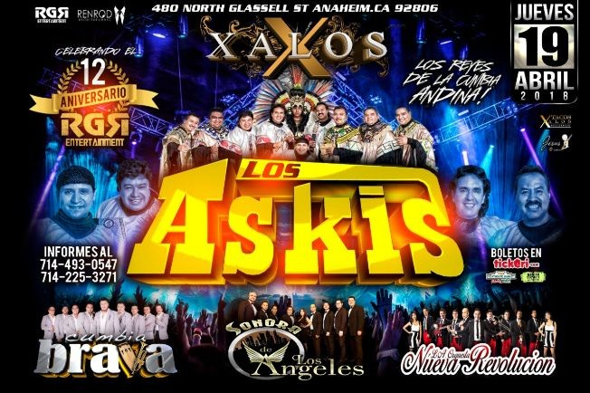 Flyer for Los Askis en Anaheim