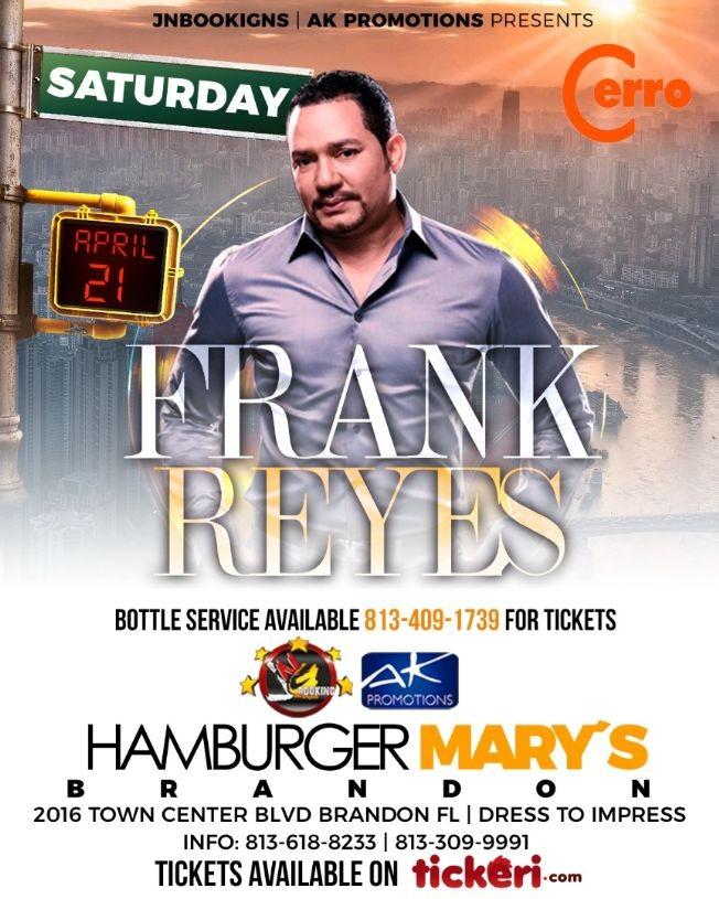 Flyer for Frank Reyes en Tampa, FL