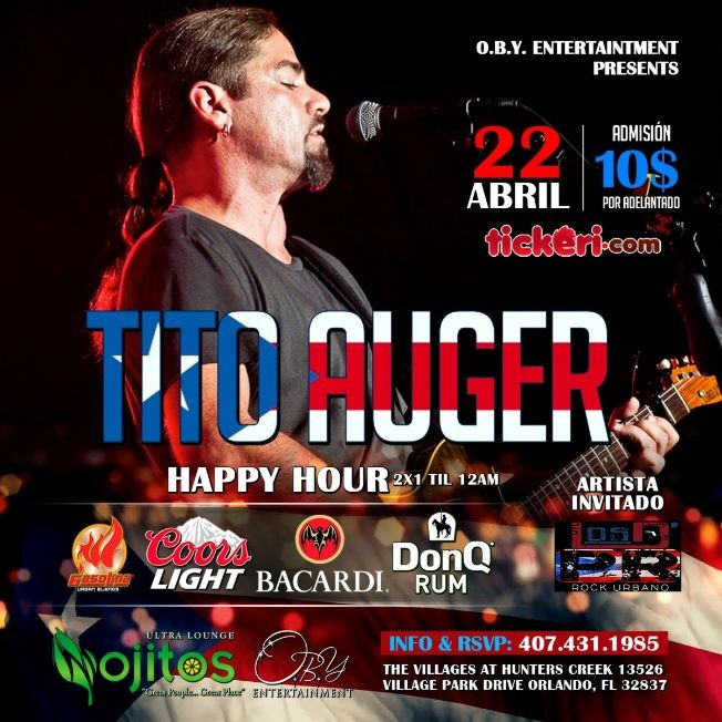 Flyer for Tito Auger en Orlando