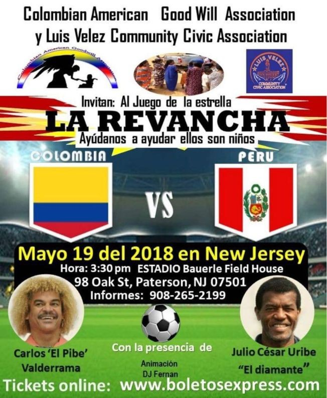 Flyer for La Revancha, Colombia vs. Peru- en Paterson,NJ