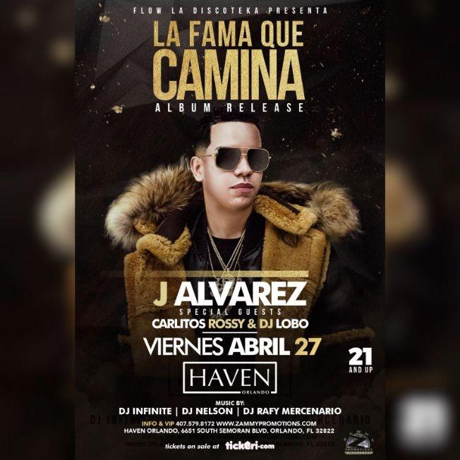 Flyer for J ALVAREZ: LA FAMA QUE CAMINA WORLD TOUR (ALBUM RELEASE)
