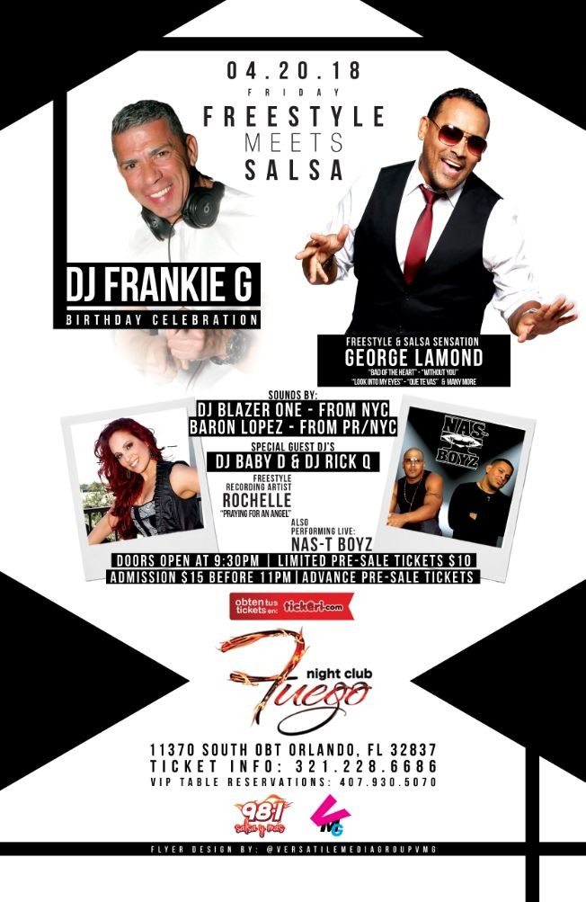 Flyer for Freestyle Meets Salsa Featuring George Lamond, Rochelle & Nas-T Boyz