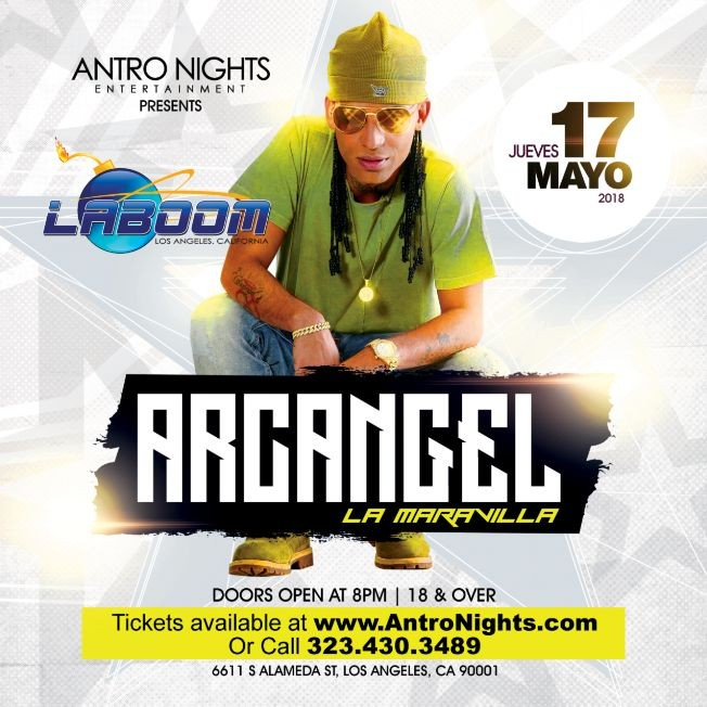Flyer for ARCANGEL en LA BOOM de Los Angeles!