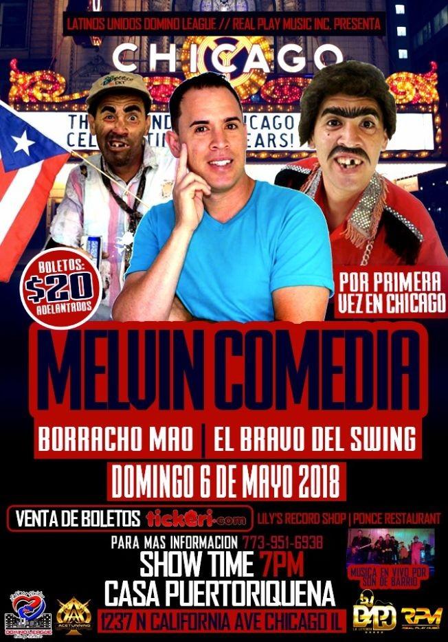 Flyer for MELVIN COMEDIA LLEGA A CHICAGO