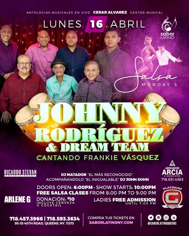Flyer for Johnny Rodriguez & Rum'Bacan Salsa
