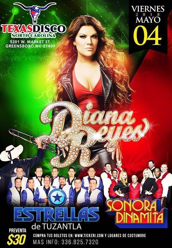 Flyer for Diana Reyes, Estrellas de Tuzantla & La Sonora en Greensboro,NC