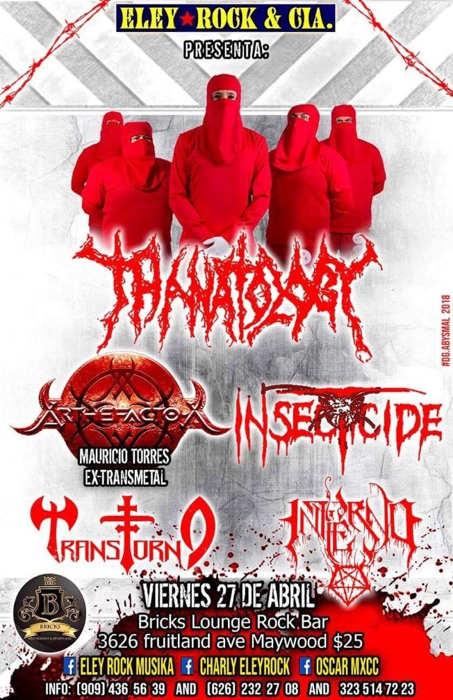 Flyer for ARTHEFACTO-X  THANATOLOGY  INSECTICIDE Maywood,CA
