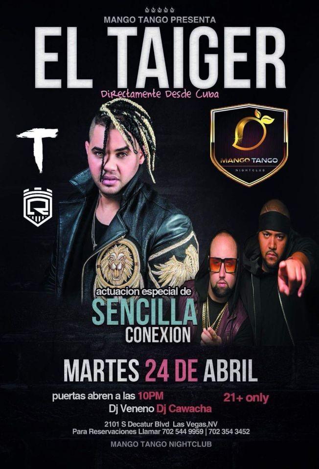Flyer for El Taiger & Sencilla Conexion en Las Vegas,NV