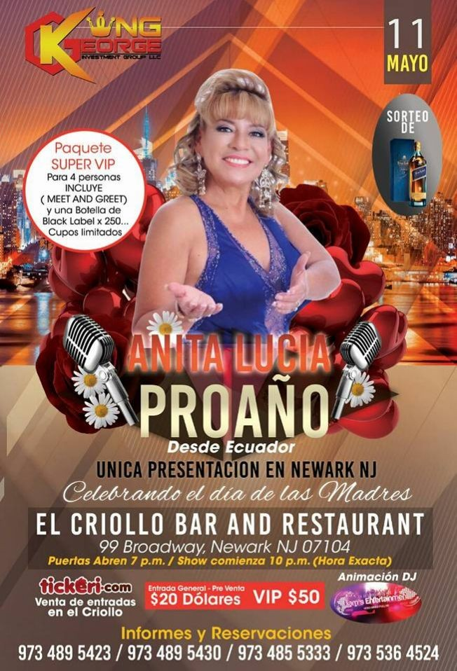 "Flyer for "" ANITA LUCIA PROAÑO"" HOMENAJE A MAMITA"