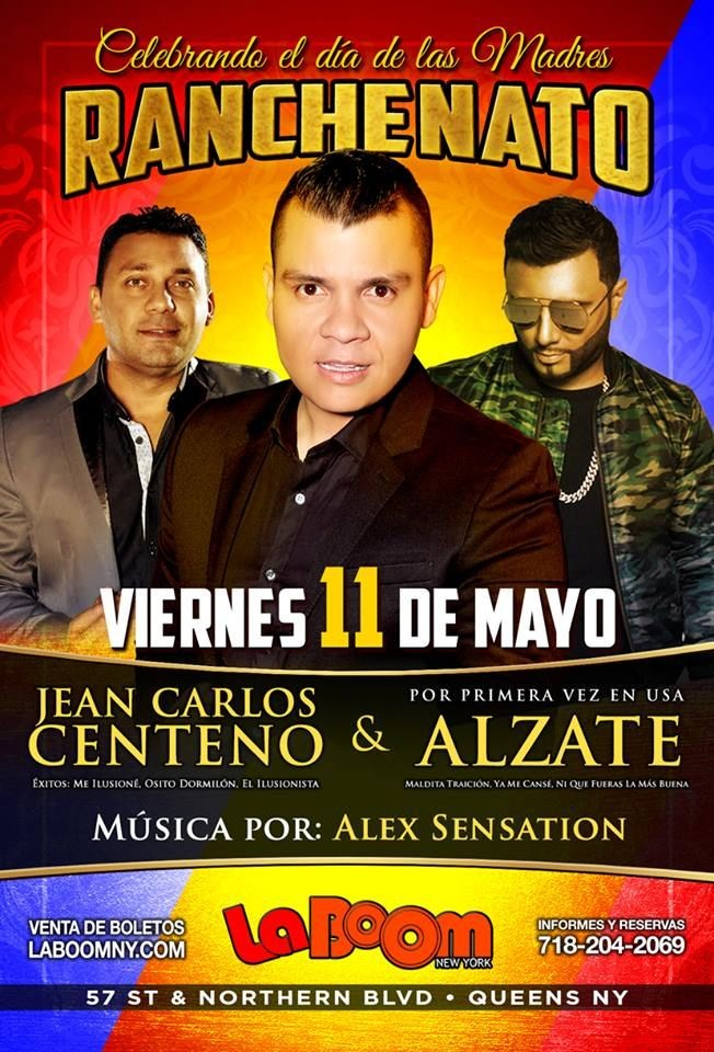 Flyer for Ranchenato con Jean Carlos Centeno, Alzate y Alex Sensation