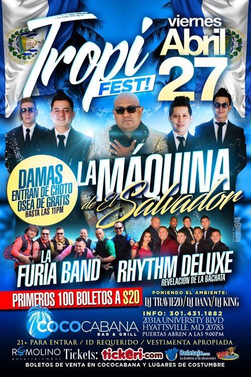 Flyer for Tropi Fest con La Maquina de El Salvador, La Furia Band & Rhythm Deluxe en Hyattsville,MD