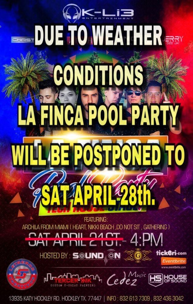 "Flyer for LA FINCA POOL PARTY ""House Techno"""
