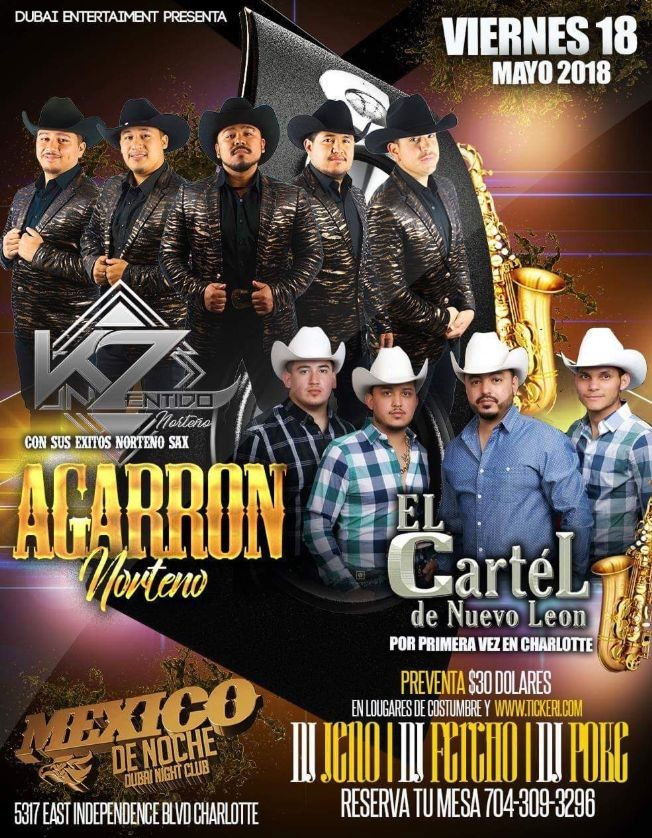 Flyer for Agarron Norteno con K Zentido Norteño & Cartel de Nuevo Leon en Charlotte,NC